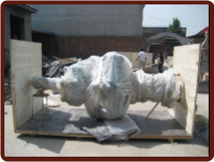 Wrapp fountain prepare for shipping