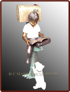Boy sitting on tree trunk w/dog bronze mailbox custom colors (2)