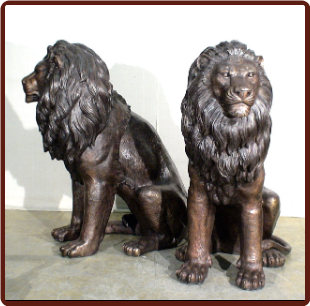 Bronze Sitting Lions, Pair