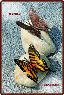 Bronze Painted Butterfly on Rock (paperweight)