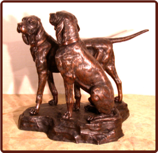 Bronze German Short Hair Pointer Hunting Dogs on Base