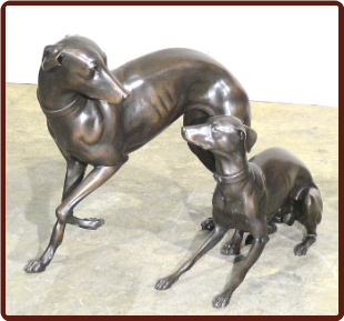 Bronze Whippet Pair Statues