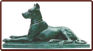 Bronze Great Dane Dog Statue