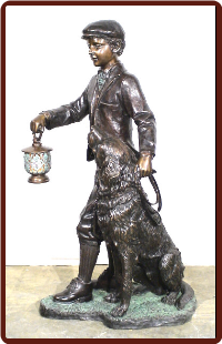 Boy and His Dog Bronze Lamp