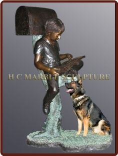 Custom Mailbox Boy w/ shepherd dog on base
