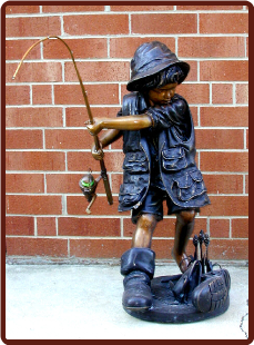 Bronze Young Fisher Boy w Rod Fountain