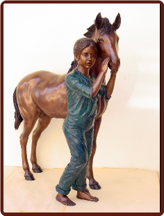 Bronze Statue Girl w/Pony