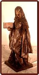 Bronze Statue Mary with Book