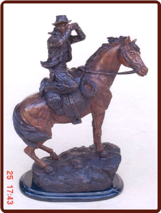 Bronze Statue of Cowboy with Horse