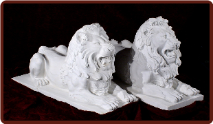 Marble Lions Lying Down, R & L Wht