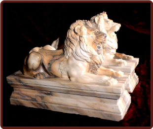 Marble Lions on Base R & L