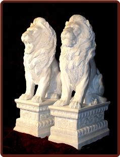 Marble Lions Sitting on Base