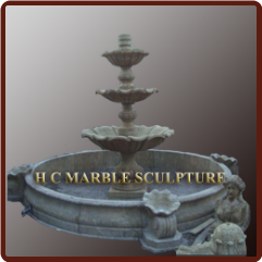Limestone Marble Fountain 3 Tier Center fount