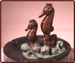 Bronze Sea Horse Figurine Perched on Marble Ashtray