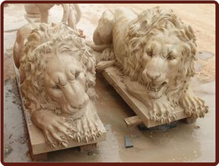 Marble Lions Lying Down YellowBeig