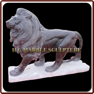 Black Marble Walking Lions on Base