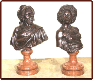 African Man & Woman Bronze & Marble Bust