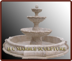 Antique 3 Tier Travertine Stone Fountain