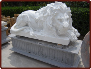 Marble Lion Lying Down on Low Base