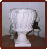 Fluted Marble Planter W/ Scalloped Edge