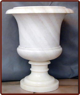 Marble Planter with Diagonal Design