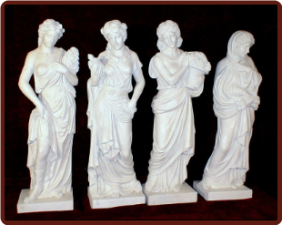 Four Seasons Statues White Marble Set, Large