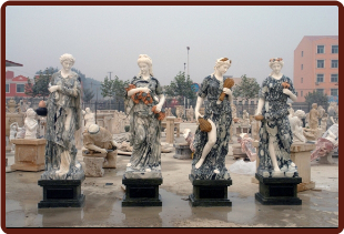 Four Seasons Marble Statues Set Lg, Green & Wht