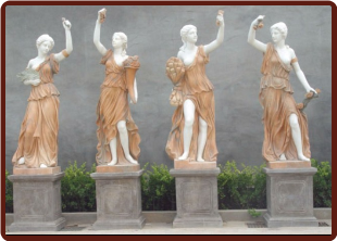 Four Seasons Statues Marble Set, Lg Soft Peach