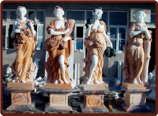 Four Seasons Statues Marble Set, Lg Dp Peach