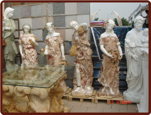 Four Seasons Marble Statues Set, Multicolor