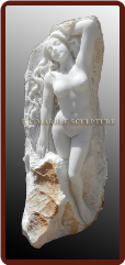 Unique Sculpture Nude Woman Carved Standing inside Rock