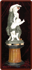 Marble Statue Baby w/ Mother, Holding Grapes