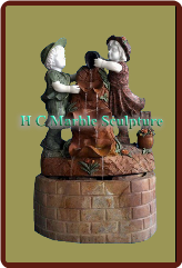 Marble Statue Fountain of A Boy & Girl in a Self Contained round base.