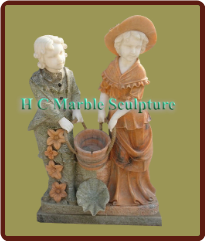 Marble Statue Fountain: Boy & Girl w/ Bucket