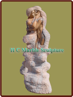 Abstract Modern Sculpture; Girl & Boy Marble Fountain