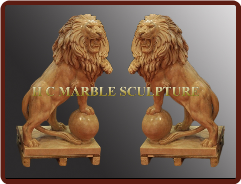 Sunset Red Marble Lions Standing on Ball