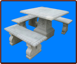 Marble Table with 3 Benches