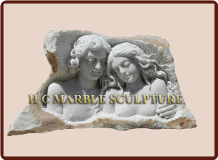 Couple Bust frame carved inside rock