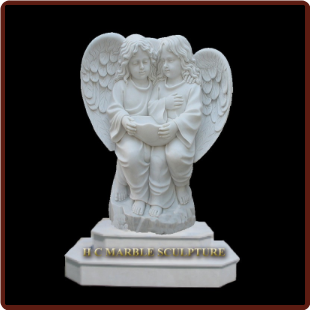 Twin Angel Girls Marble Statue on 2 Tier Base