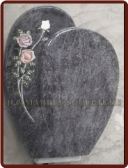 Granite Tombstone With Eetched Roses