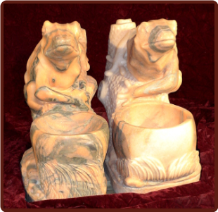 Marble Sculpture Frog Planter Orng