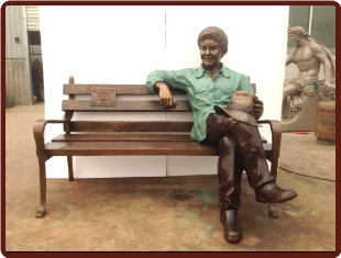 Bronze Custom Statue Jordan Sitting on Bench