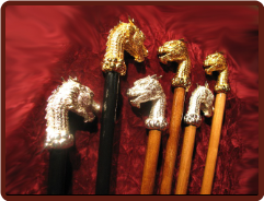 Dragon Head Black / Camel Wood Canes