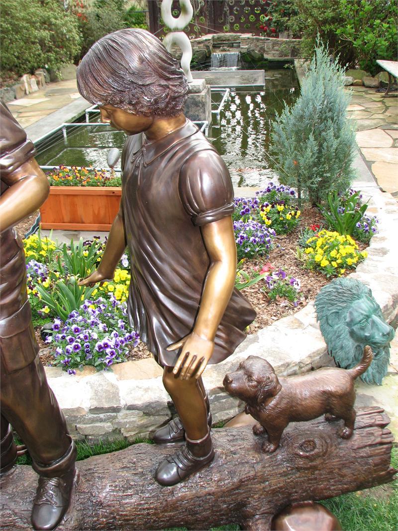 Children Dog On Log Bronze Statue