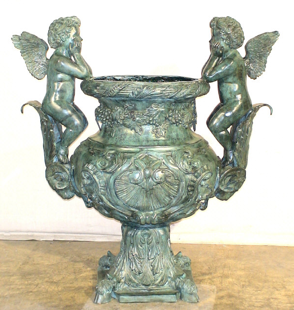 fabulous marble urns with bronze accents of trim and figures come see what we have to offer - Decorative Urns
