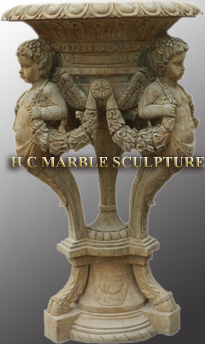 Marble Urn Three Angels Holding Vase