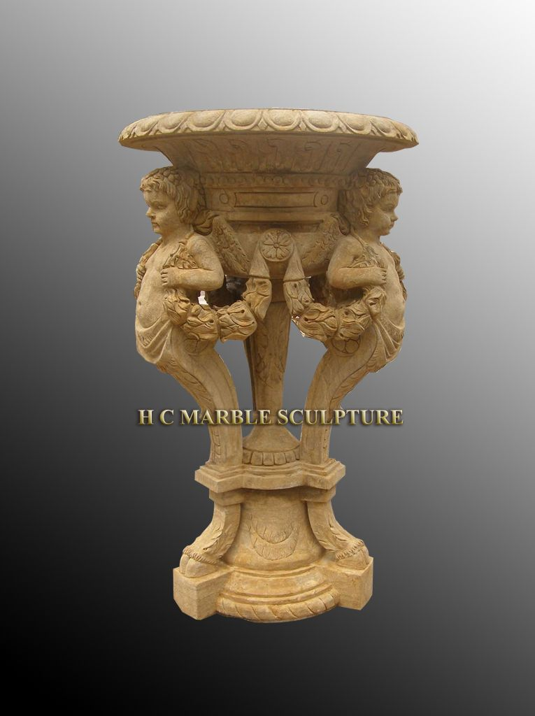 Antique Stone Planter W 3 Cherubs
