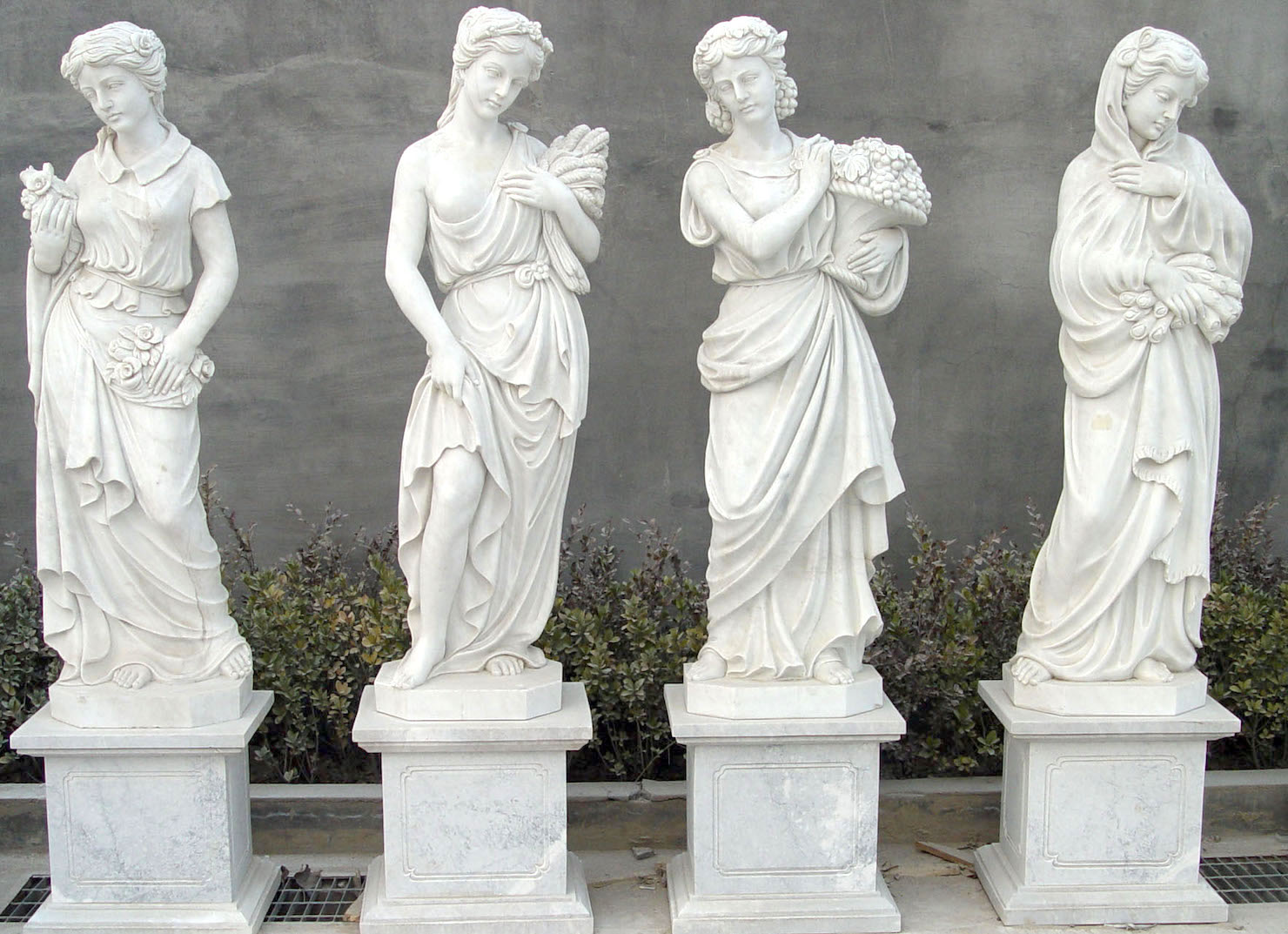 White Marble Statue : Four seasons marble statues on base b