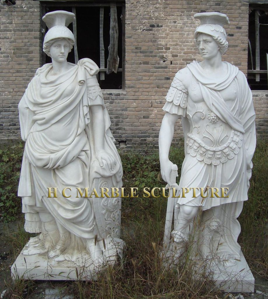 White Marble Statue : Roman marble statues in white