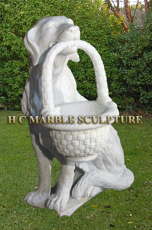 ... and Statues > Marble Animals > Dog Holding Basket Marble Garden Statue